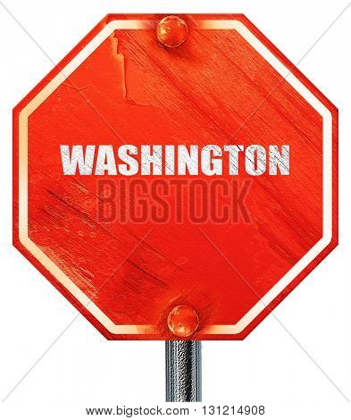washington, 3D rendering, a red stop sign