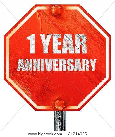 1 year anniversary, 3D rendering, a red stop sign