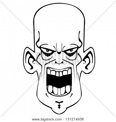 black and white crazy evil face cartoon