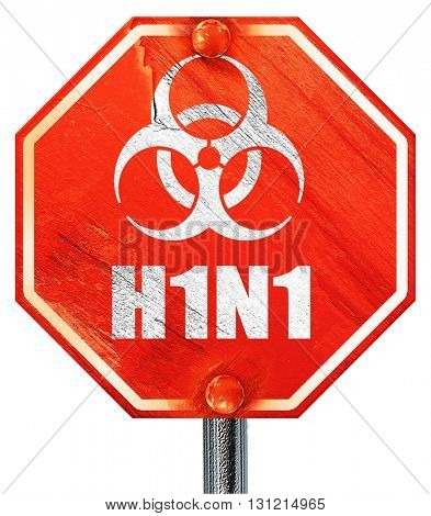 H1N1 virus concept background, 3D rendering, a red stop sign
