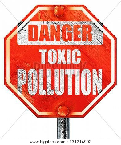 Pollution waste sign, 3D rendering, a red stop sign
