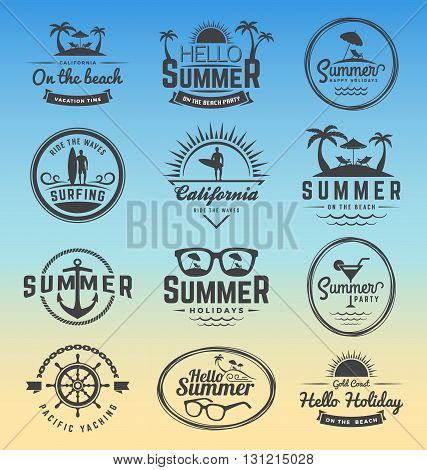 Modern retro insignia for summer holidays surfing and nautical vector design | Enjoy summer | Hello Summer | Summer Travel Decoration. Vector illustration