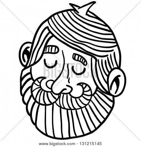 black and white man with beard cartoon