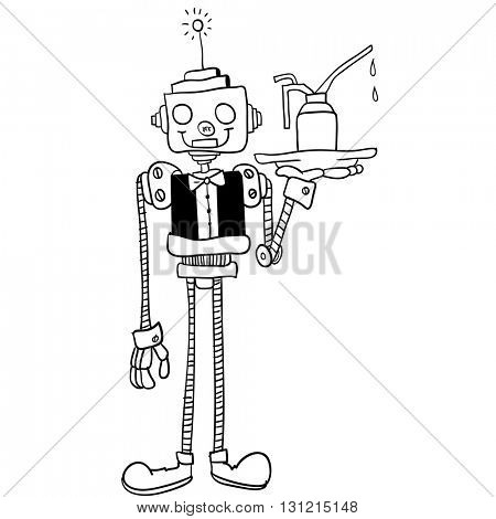 black and white robot waiter cartoon