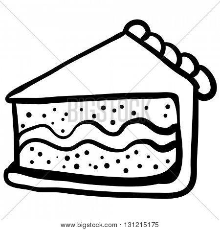 black and white piece of cake cartoon