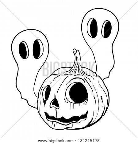 black and white pumpkin and two ghosts
