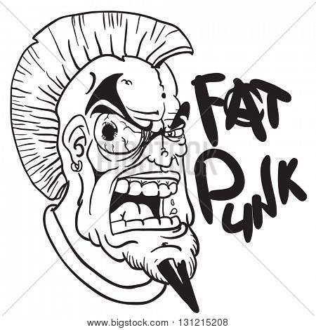black and white fat punk cartoon