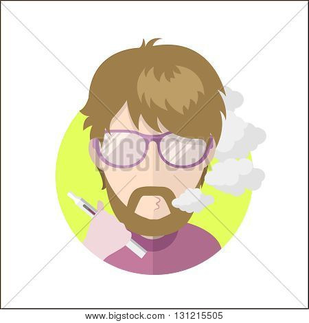 Avatar vape profile picture flat icon, vaping people character. Trendy beard and glasses
