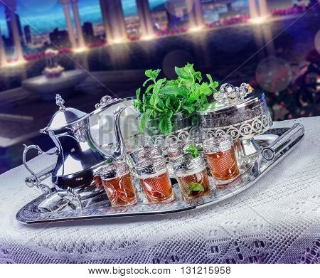 Moroccan tea glasses and biscuit, arabian party