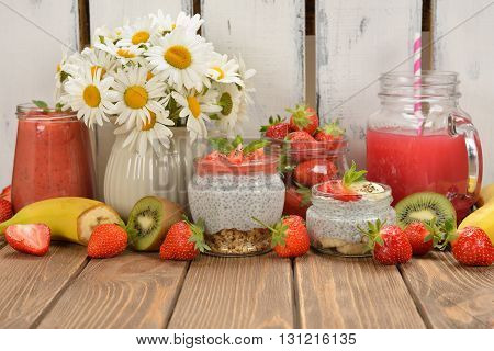 Diet desserts and drinks with chia seeds and strawberries