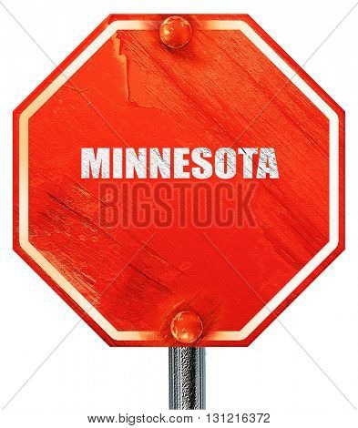 minnesota, 3D rendering, a red stop sign