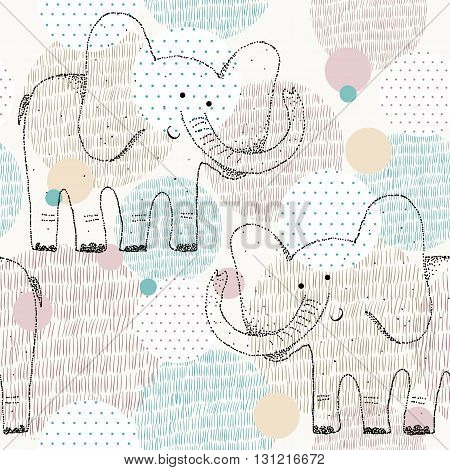 Vector drawn seamless geometric pattern with elephant