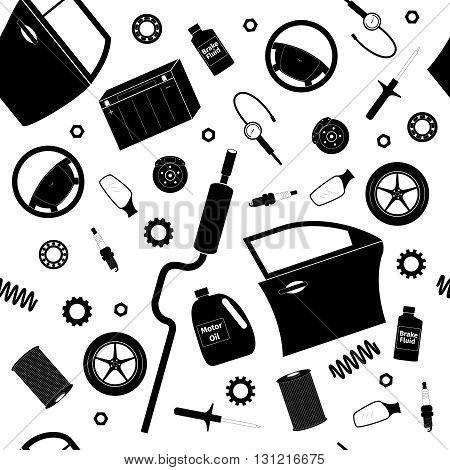 Car service set, seamless pattern, vector illustration