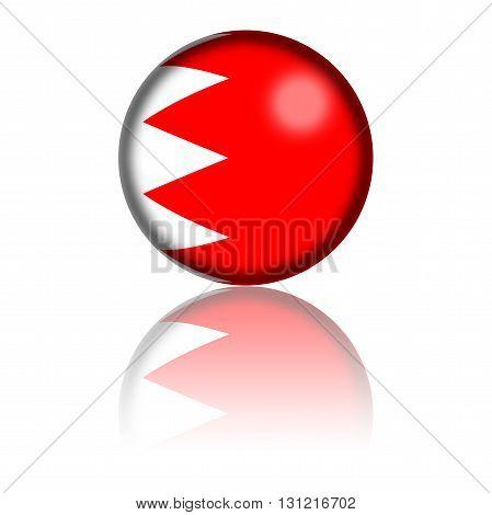 Bahrain Flag Sphere 3D Rendering