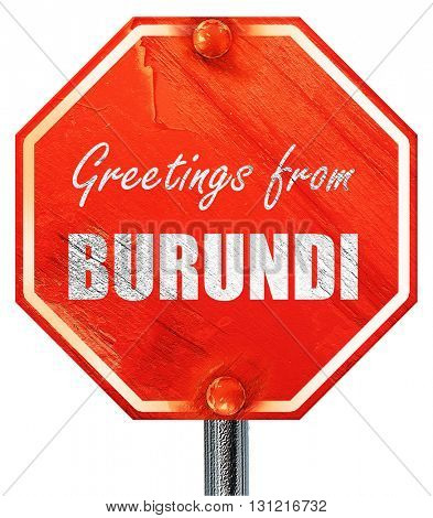 Greetings from burundi, 3D rendering, a red stop sign
