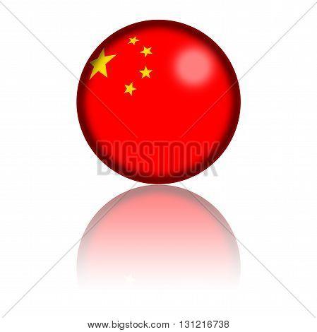 China Flag Sphere 3D Rendering