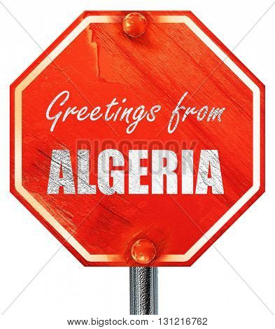 Greetings from algeria, 3D rendering, a red stop sign