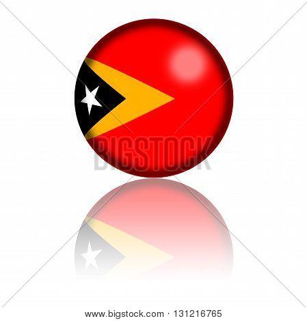 East Timor Flag Sphere 3D Rendering