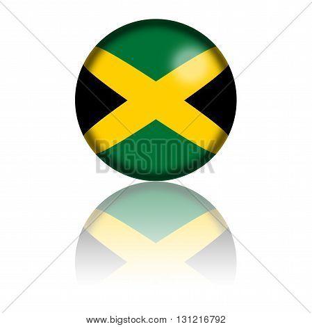 Jamaica Flag Sphere 3D Rendering