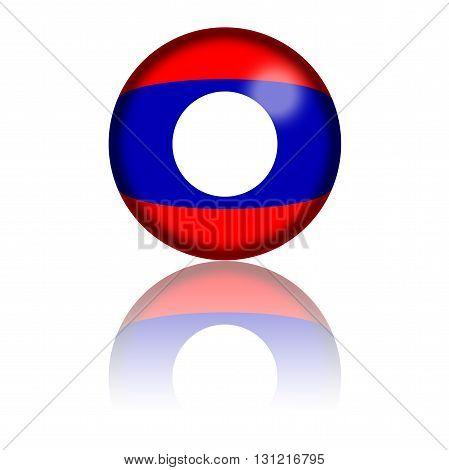 Laos Flag Sphere 3D Rendering