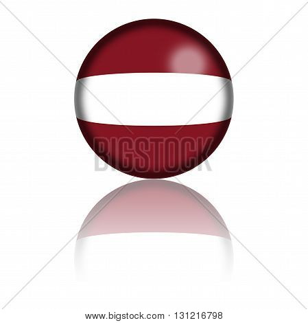 Latvia Flag Sphere 3D Rendering
