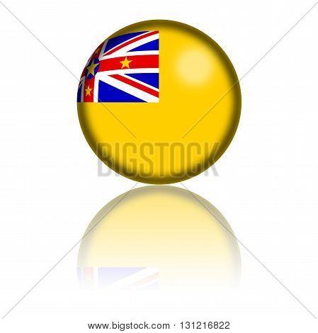Niue Flag Sphere 3D Rendering