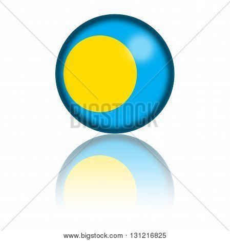 Palau Flag Sphere 3D Rendering
