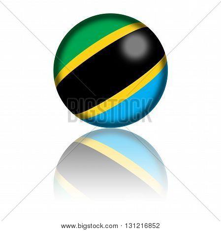 Tanzania Flag Sphere 3D Rendering