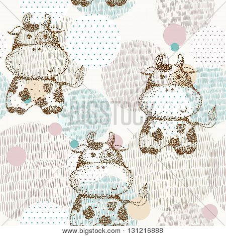 Vector drawn seamless geometric pattern with cow