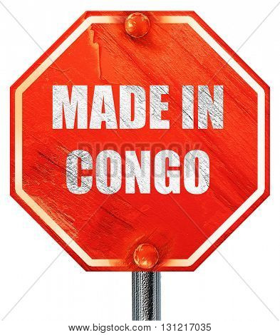Made in congo, 3D rendering, a red stop sign