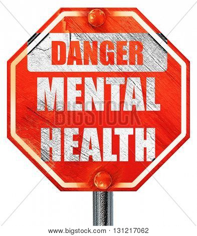 Mental health  sign, 3D rendering, a red stop sign