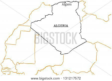 Algeria country with its capital Algiers in Africa hand-drawn sketch map isolated on white