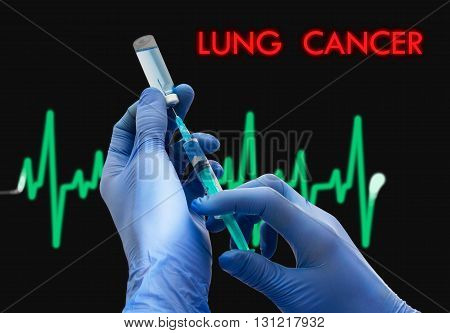 Treatment of lung cancer. Syringe is filled with injection. Syringe and vaccine. Medical concept.