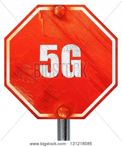 5g, 3D rendering, a red stop sign