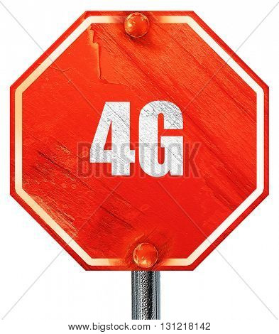 4g, 3D rendering, a red stop sign