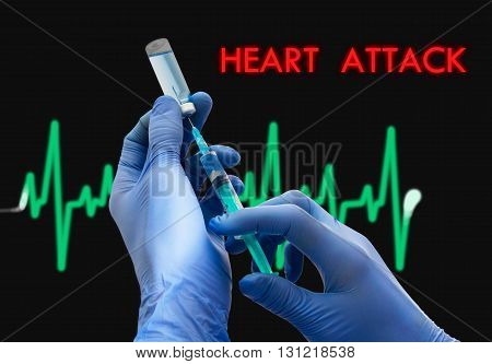 Treatment of heart attack. Syringe is filled with injection. Syringe and vaccine. Medical concept.