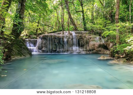The beautiful big waterfall in deep forest