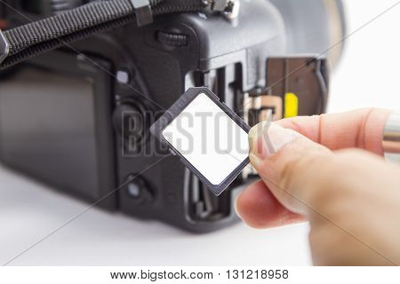 insert sd card to camera by the hand
