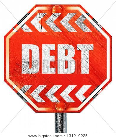 Debt sign with some smooth lines, 3D rendering, a red stop sign