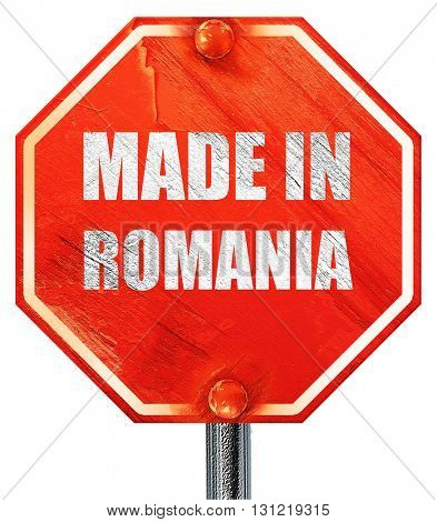 Made in romania, 3D rendering, a red stop sign