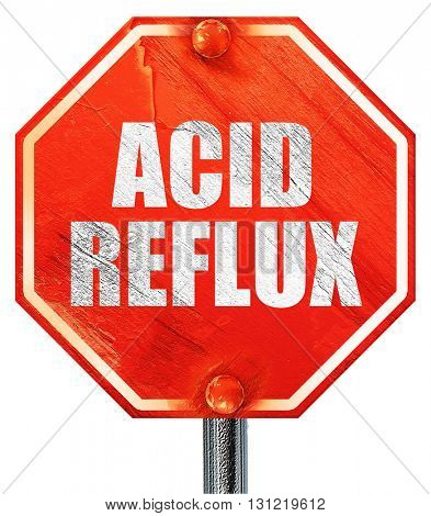 acid reflux, 3D rendering, a red stop sign