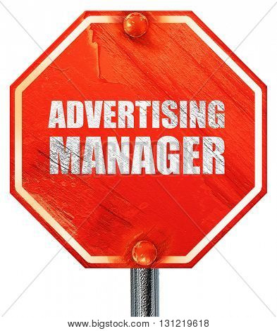 advertising manager, 3D rendering, a red stop sign