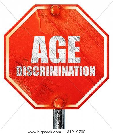 age discrimination, 3D rendering, a red stop sign