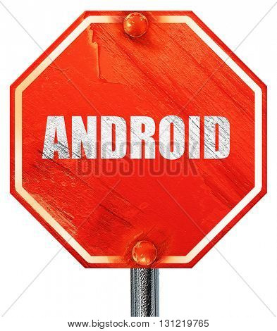 android, 3D rendering, a red stop sign