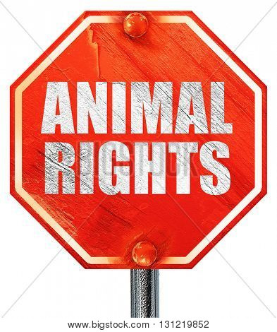animal rights, 3D rendering, a red stop sign