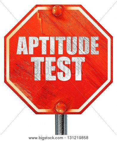 aptitude test, 3D rendering, a red stop sign