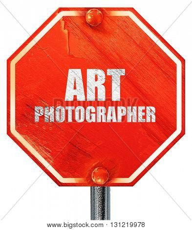 art photographer, 3D rendering, a red stop sign