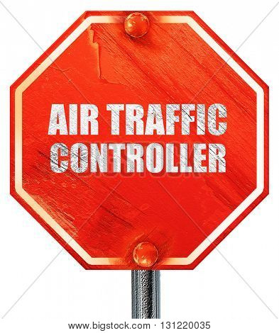 air traffic controller, 3D rendering, a red stop sign