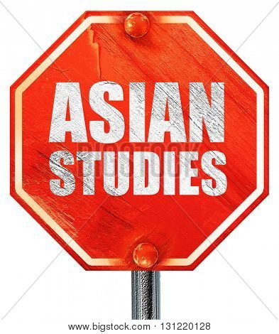 asian studies, 3D rendering, a red stop sign
