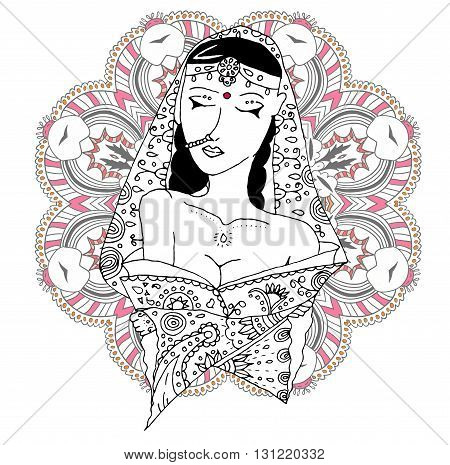 Vector indian girl in national clothes on mandala background. Doodle style.